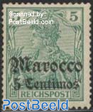 5c Overprint, German Post 1v
